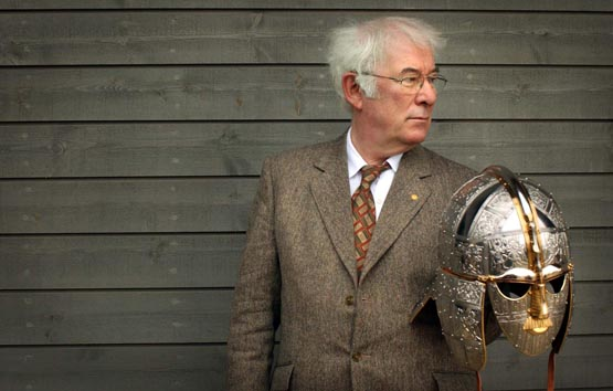 SEAMUS HEANEY AUTHOR OF THE ACCLAIMED TRANSLATION OF BEOWULF HOLDS A REPLICA OF THE SUTTON HOO HELMET AT THE OPENING OF A NEW EXHIBITION CENTRE AT THE SUTTON HOO SITE WHICH INCLUDES TREASURES LENT BY THE BRITISH MUSEUM.  13/3/02